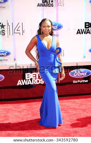LOS ANGELES - JUN 29:  Naturi Naughton at the 2014 BET Awards - Arrivals at the Nokia Theater at LA Live on June 29, 2014 in Los Angeles, CA - stock photo