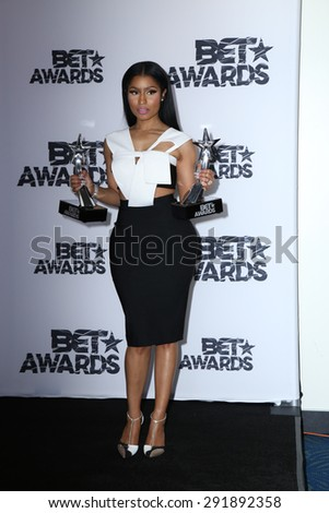 LOS ANGELES - JUN 28:  Nicki Minaj at the 2015 BET Awards - Press Room at the Microsoft Theater on June 28, 2015 in Los Angeles, CA - stock photo