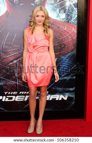 "LOS ANGELES - JUN 28:  Peyton List arrives at the ""The Amazing Spider-Man"" Premiere at Village Theater on June 28, 2012 in Westwood, CA - stock photo"