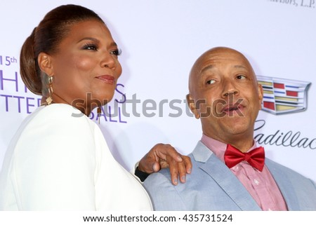 LOS ANGELES - JUN 11:  Queen Latifiah, Russell Simmons at the 15th Annual Chrysalis Butterfly Ball at the Private Residence on June 11, 2016 in Brentwood, CA - stock photo