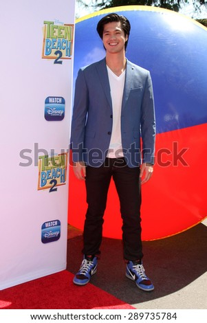 "LOS ANGELES - JUN 22:  Ross Butler at the ""Teen Beach 2"" Premiere  at the Walt Disney Studios on June 22, 2015 in Burbank, CA - stock photo"