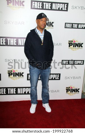 "LOS ANGELES - JUN 19:  Russell Simmons at the ""Free The Nipple"" Fundraising Event at the Skybar on June 19, 2014 in West Hollywood, CA - stock photo"