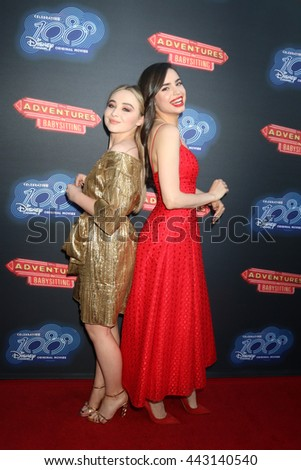 LOS ANGELES - JUN 23:  Sabrina Carpenter, Sofia Carson at the 100th DCOM Adventures In Babysitting LA Premiere Screening at the Directors Guild of America on June 23, 2016 in Los Angeles, CA - stock photo