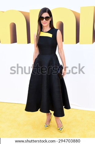 "LOS ANGELES - JUN 27:  Sandra Bullock arrives to the ""Minions"" Los Angeles Premiere  on June 27, 2015 in Hollywood, CA                 - stock photo"