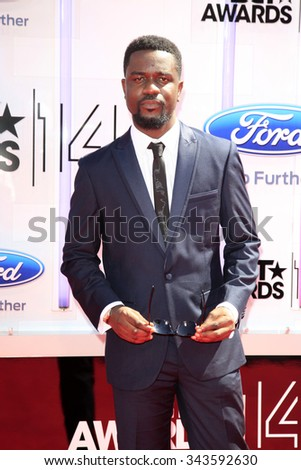 LOS ANGELES - JUN 29:  Sarkodie at the 2014 BET Awards - Arrivals at the Nokia Theater at LA Live on June 29, 2014 in Los Angeles, CA - stock photo
