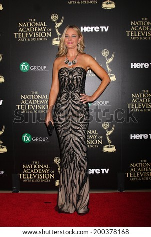 LOS ANGELES - JUN 22:  Sharon Case at the 2014 Daytime Emmy Awards Arrivals at the Beverly Hilton Hotel on June 22, 2014 in Beverly Hills, CA - stock photo