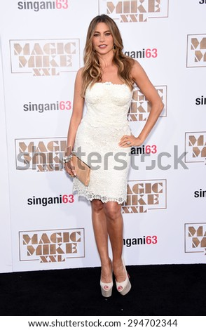 """LOS ANGELES - JUN 25:  Sofia Vergara arrives to the """"Magic Mike XXL"""" World Premiere  on June 25, 2015 in Hollywood, CA                 - stock photo"""