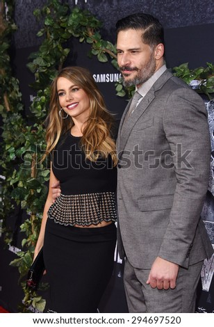 "LOS ANGELES - JUN 09:  Sofia Vergara & Joe Manganiello arrives to the ""Jurassic World"" World Premiere  on June 9, 2015 in Hollywood, CA                 - stock photo"