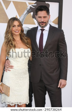 "LOS ANGELES - JUN 25:  Sofia Vergara, Joe Manganiello at the ""Magic Mike XXL"" Premiere at the TCL Chinese Theater on June 25, 2015 in Los Angeles, CA - stock photo"