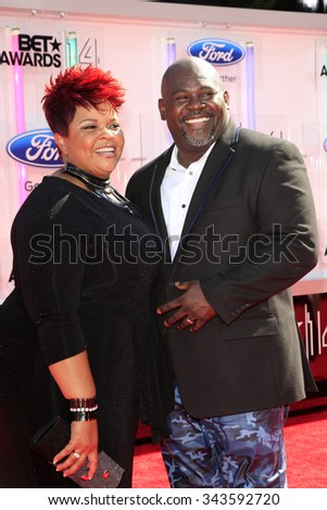 LOS ANGELES - JUN 29:  Tamela Mann, David Mann at the 2014 BET Awards - Arrivals at the Nokia Theater at LA Live on June 29, 2014 in Los Angeles, CA - stock photo