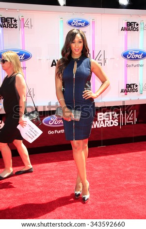 LOS ANGELES - JUN 29:  Tamera Mowry-Housley at the 2014 BET Awards - Arrivals at the Nokia Theater at LA Live on June 29, 2014 in Los Angeles, CA - stock photo