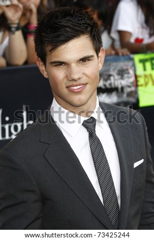 LOS ANGELES - JUN 24:  Taylor Lautner arrives at the premiere of 'The Twilight Saga: Eclipse' on June 24, 2010 at the Nokia Theater at LA Live in Los Angeles, CA - stock photo