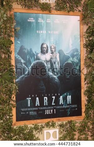 LOS ANGELES - JUN 27:  The Legend of Tarzan Movie Poster at The Legend Of Tarzan Premiere at the Dolby Theater on June 27, 2016 in Los Angeles, CA - stock photo