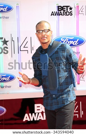 LOS ANGELES - JUN 29:  TI at the 2014 BET Awards - Arrivals at the Nokia Theater at LA Live on June 29, 2014 in Los Angeles, CA - stock photo