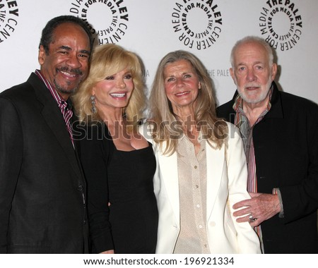 LOS ANGELES - JUN 4:  Tim Reid, Loni Anderson, Jan Smithers, Howard Hesseman at A WKRP in Cincinnati Reunion at Paley Center For Media on June 4, 2014 in Beverly Hills, CA - stock photo