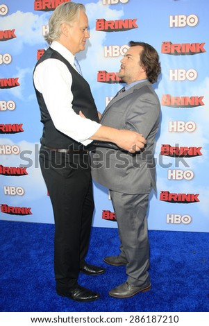 """LOS ANGELES - JUN 8:  Tim Robbins, Jack Black at the HBO's """"The Brink"""" Premiere at the Paramount Studios on June 8, 2015 in Los Angeles, CA - stock photo"""
