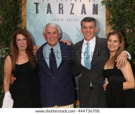 LOS ANGELES - JUN 27:  Wendy Riche, Alan Riche, Peter Riche, Wendy Jacobs-Riche at The Legend Of Tarzan Premiere at the Dolby Theater on June 27, 2016 in Los Angeles, CA - stock photo