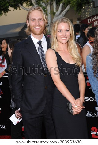 "LOS ANGELES - JUN 09:  Wyatt Russell arrives to the ""22 Jump Street"" World Premiere  on June 09, 2014 in North Hollywood, CA                 - stock photo"