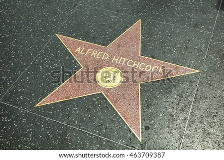 LOS ANGELES - JUNE 5, 2016: Alfred Hitchcock star in Hollywood Walk of Fame in Los Angeles, CA. There are more than 2,400 five-pointed stars which attract about 10 million visitors annually