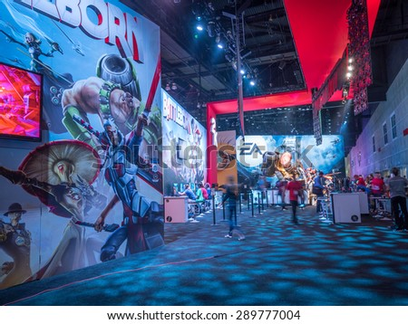 LOS ANGELES - June 17: Battleborn video game booth at E3 2015 expo. Electronic Entertainment Expo, commonly known as E3, is an annual trade fair for the video game industry - stock photo