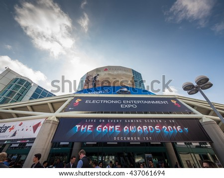 LOS ANGELES - June 14, 2016: Entrance to E3 2016 Electronic Expo in Los Angeles Convention Center. E3 is an annual trade fair for the video game industry.