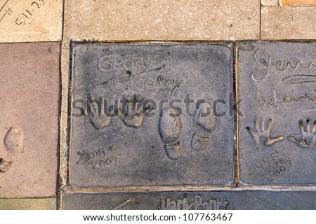 LOS ANGELES - JUNE 26:  handprints of George Clooney in Hollywood on June 26,2012 in Los Angeles. There are nearly 200 celebrity handprints in the concrete of Chinese Theater.