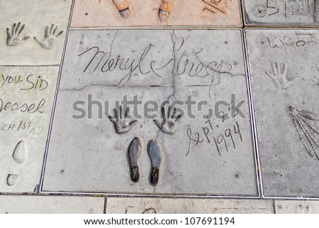 LOS ANGELES - JUNE 26:  handprints of Meryl Streep  in Hollywood Boulevard on June 26,2012 in Los Angeles. There are nearly 200 celebrity handprints in the concrete of Chinese Theatre's forecourt. - stock photo