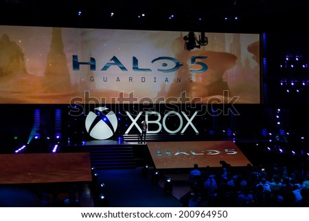 LOS ANGELES - JUNE 9: Microsoft introducing Halo 5: Guardians at Xbox media briefing at E3 2014, the Expo for video games on June 9, 2014 in Los Angeles - stock photo