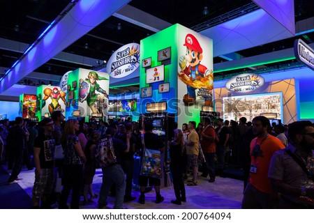 LOS ANGELES - JUNE 12: Nintendo booth at E3 2014, the Expo for video games on June 12, 2014 in Los Angeles - stock photo
