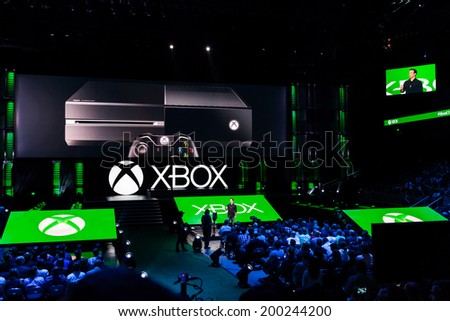 LOS ANGELES - JUNE 9:  Phil Spencer, head of Xbox team, introduces Xbox media briefing at E3 2014, the Expo for video games on June 9, 2014 in Los Angeles - stock photo