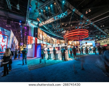 LOS ANGELES - June 16: Square Enix booth at E3 2015 expo. Electronic Entertainment Expo, commonly known as E3, is an annual trade fair for the video game industry - stock photo