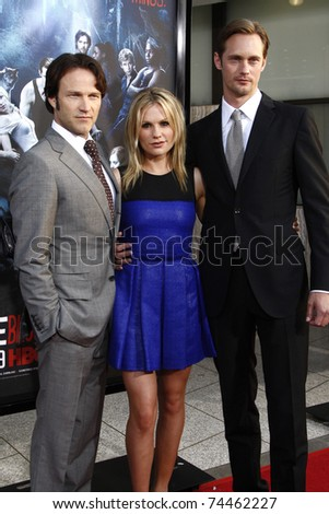 LOS ANGELES - JUNE 8:  Stephen Moyer, Anna Paquin and Alexander Skarsgard arriving at the premiere of 'True Blood' held at the Arclight Theatre in Los Angeles, California on June 08, 2010.