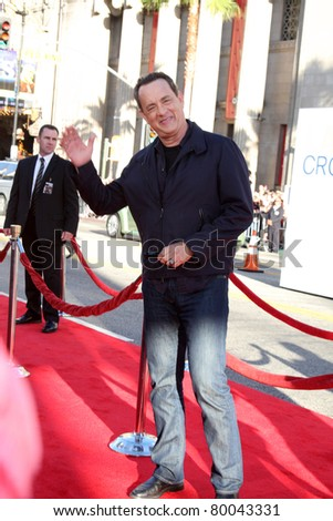 """LOS ANGELES - JUNE 27:  Tom Hanks arriving at the """"Larry Crowne"""" World Premiere at Chinese Theater on June 27, 2011 in Los Angeles, CA - stock photo"""