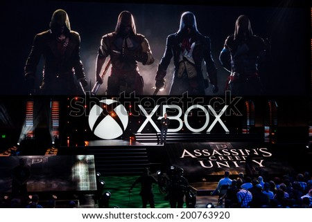 LOS ANGELES - JUNE 9:  Ubisoft introducing Assassin's Creed Unity at Xbox media briefing at E3 2014, the Expo for video games on June 9, 2014 in Los Angeles - stock photo
