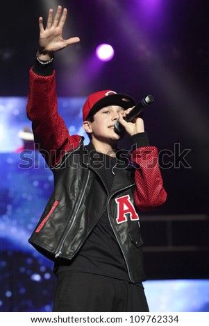"LOS ANGELES - JUNE 24: You Tube sensation Austin Mahone, who the media has dubbed ""Baby Bieber,"" sings in concert at The Wiltern Theater in Los Angeles, CA on June 24, 2012."