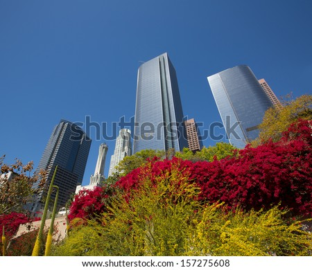 Los Angeles LA downtown skyscrapers at Hill street California - stock photo