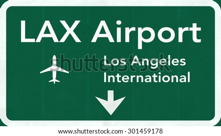 Los Angeles LAX USA International Airport Highway Road Sign 2D Illustration Texture, background, element - stock photo