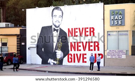 LOS ANGELES - MAR 12: A mural of Leonardo DiCaprio holding his Oscar is seen on March 12, 2016 in Los Angeles, CA - stock photo