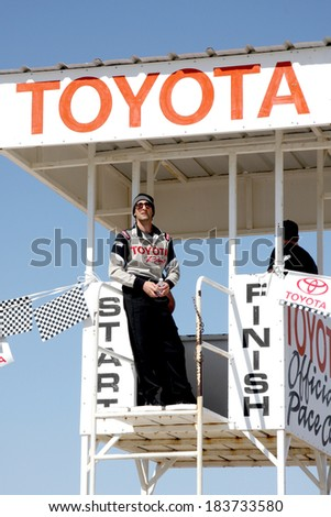 LOS ANGELES - MAR 15:  Adrien Brody at the Toyota Grand Prix of Long Beach Pro-Celebrity Race Training at Willow Springs International Speedway on March 15, 2014 in Rosamond, CA - stock photo