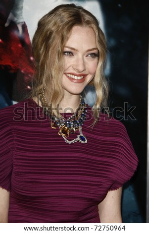 "LOS ANGELES - MAR 7:  Amanda Seyfried arrives at the ""Red Riding Hood"" Premiere at Grauman's Chinese Theater on March 7, 2011 in Los Angeles, CA"