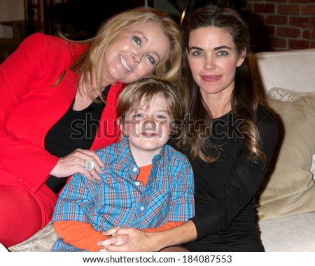 LOS ANGELES - MAR 25:  Amelia Heinle, Max Page, Melody Thomas Scott at the Young and Restless 41st Anniversary Cake at CBS Television City on March 25, 2014 in Los Angeles, CA