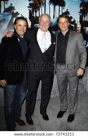LOS ANGELES - MAR 22:  Andy Garcia, Jerry Weintraub, Matt Damon arrive at the Los Angeles HBO Premiere of 'His Way' at Paramount Studios in Los Angeles, California on March 22, 2011.