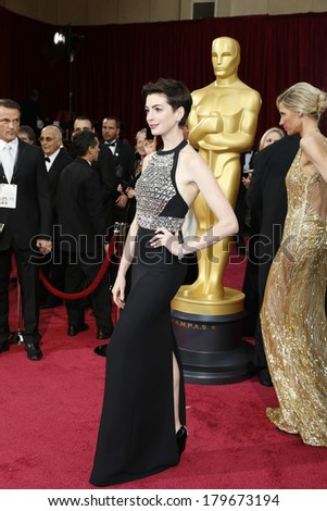 LOS ANGELES - MAR 2:  Anne Hathaway at the 86th Academy Awards at Dolby Theater, Hollywood & Highland on March 2, 2014 in Los Angeles, CA - stock photo