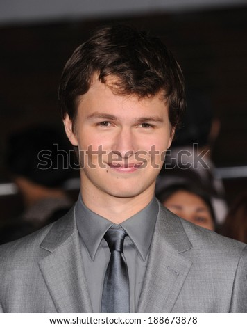 LOS ANGELES - MAR 18:  Ansel Elgort arrives to the 'Divergent' Los Angeles Premiere  on March 18, 2014 in Westwood, CA                 - stock photo