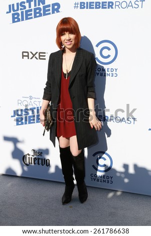 LOS ANGELES - MAR 14:  Carly Rae Jepsen at the Comedy Central Roast of Justin Bieber at the Sony Pictures Studios on March 14, 2015 in Culver City, CA - stock photo