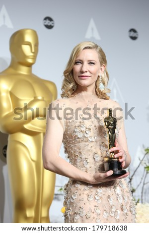 LOS ANGELES - MAR 2:  Cate Blanchett at the 86th Academy Awards at Dolby Theater, Hollywood & Highland on March 2, 2014 in Los Angeles, CA - stock photo