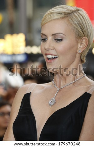 LOS ANGELES - MAR 2:  Charlize Theron at the 86th Academy Awards at Dolby Theater, Hollywood & Highland on March 2, 2014 in Los Angeles, CA - stock photo