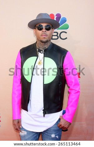 LOS ANGELES - MAR 29:  Chris Brown at the 2015 iHeartRadio Music Awards at the Shrine Auditorium on March 29, 2015 in Los Angeles, CA - stock photo