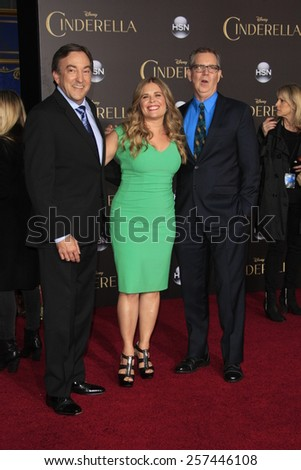 "LOS ANGELES - MAR 1:  Chris Buck, Jennifer Lee, Peter Del Vecho at the ""Cinderella"" World Premiere at the El Capitan Theater on March 1, 2015 in Los Angeles, CA - stock photo"