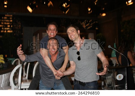LOS ANGELES - MAR 26:  Christian LeBlanc, Sean Carrigan, Daniel Goddard at the Young & Restless 42nd Anniversary Celebration at the CBS Television City on March 26, 2015 in Los Angeles, CA - stock photo